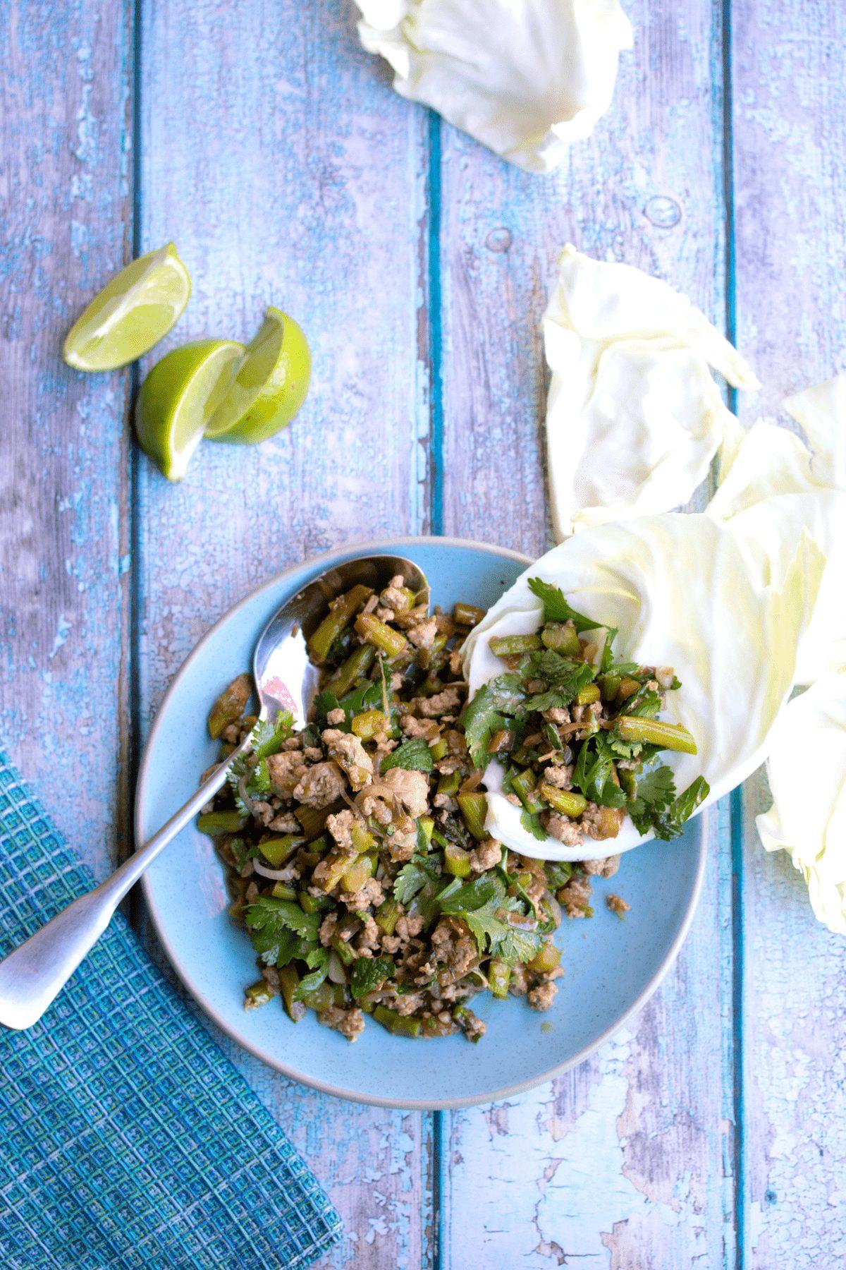 thai-chicken-larb-in-lettuce-cups