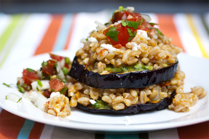 Farro & Eggplant Stacks with Summer Pesto & Salsa Fresca