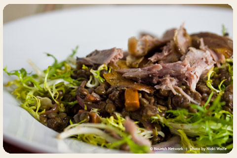frisee-salad-duck-confit-lentil-recipe
