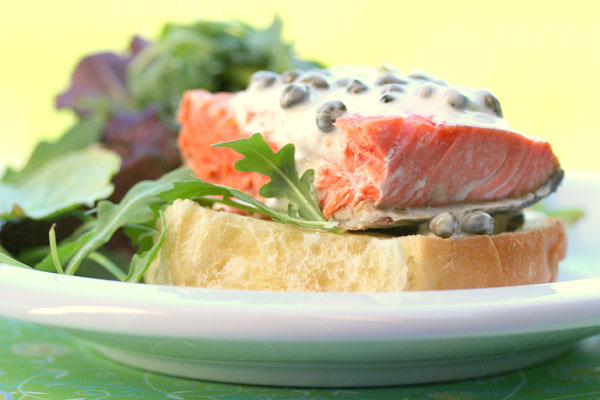 Cold Salmon Sandwich with Lemon-Caper Mayo