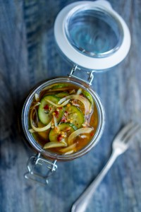 spicy-sweet pickled cucumbers-NE vertical