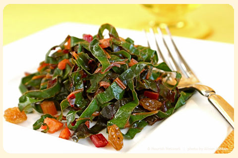Spicy Sauteed Rainbow Chard with Golden Raisins - NOURISH Evolution