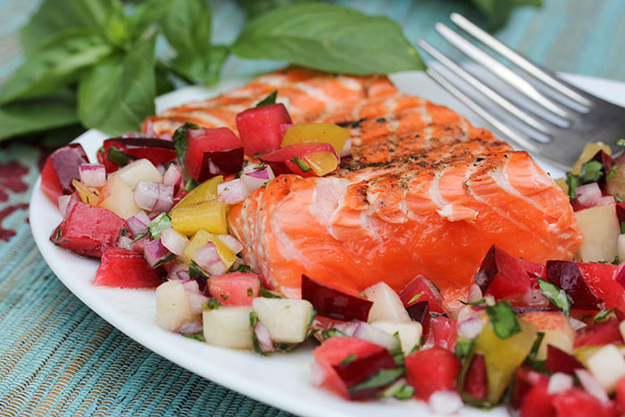 Grilled Salmon with Stone Fruit Salsa - NOURISH Evolution
