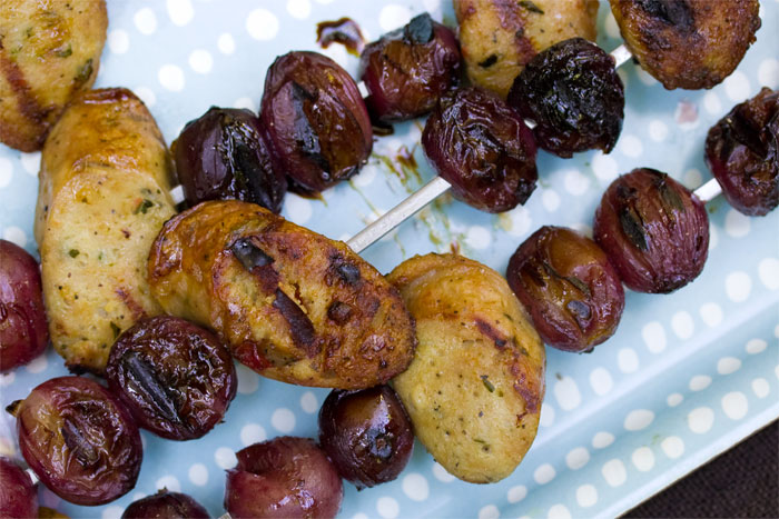 sausage-grape-skewers