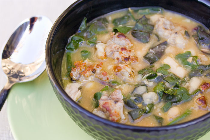 White Bean and Chard Soup with Sausage