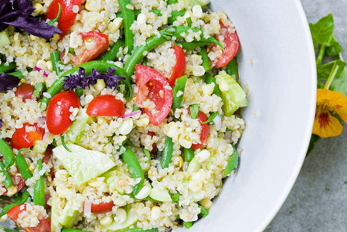 tomato-salad-green-beans-corn-bulgur
