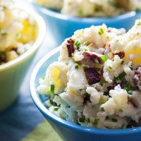 Tangy Smashed Potato Salad with Goat Cheese