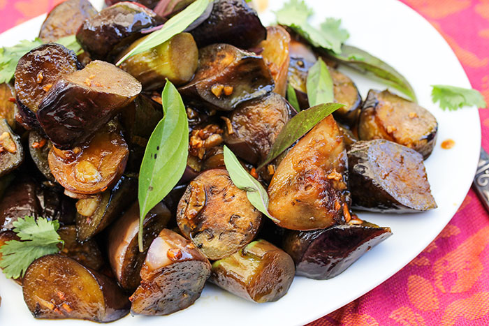 Sticky-Spicy Sauteed Asian Eggplant