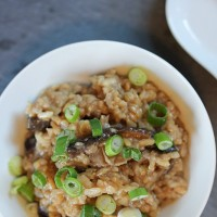 Comforting Brown Rice Porridge with Mushrooms