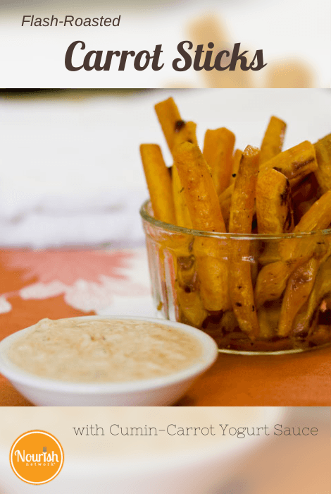Flash-Roasted Carrot Sticks with Cumin-Carrot Yogurt Sauce