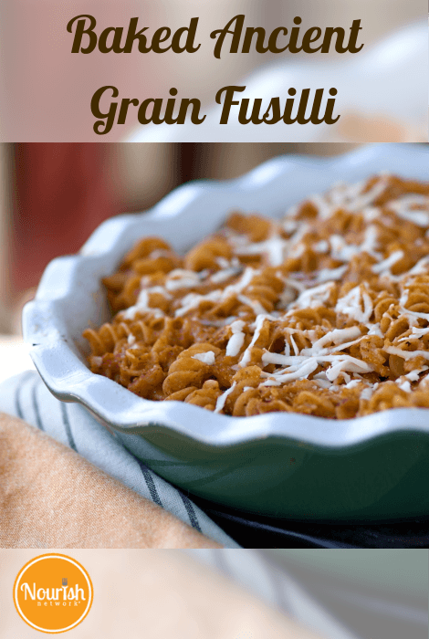 Baked Ancient Grain Fusilli with Veggie-Laden Marinara