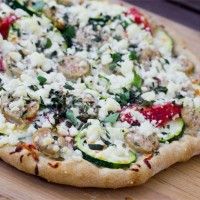 Pizza with Zucchini, Tomato and Feta