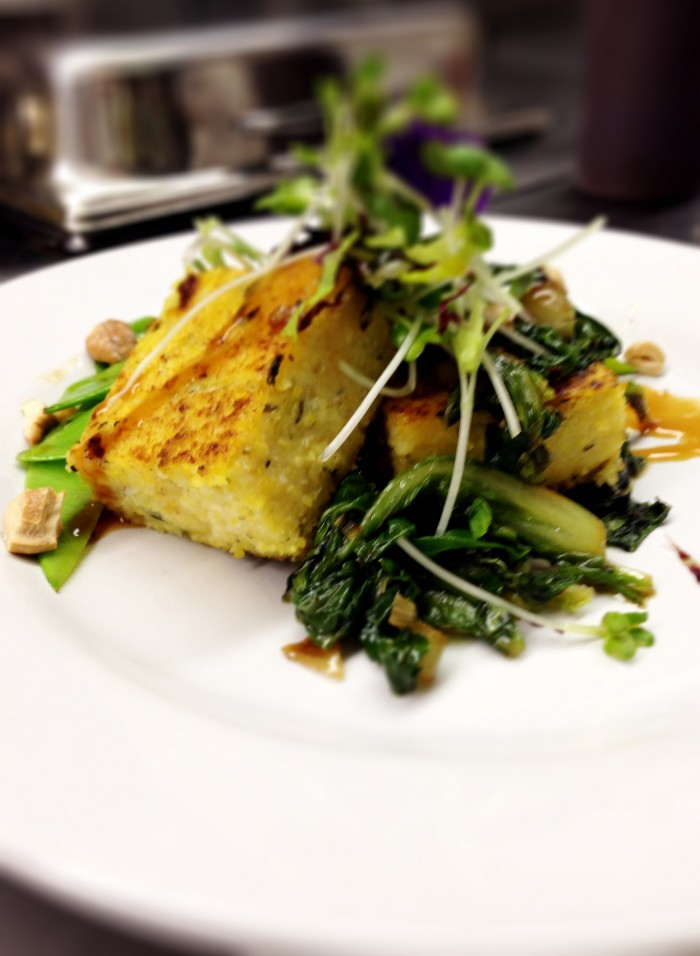 Grilled Polenta with Blistered Snow Peas & Bok Choy