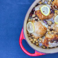 Chicken Thighs Braised with Lemons, Olives and Chickpeas