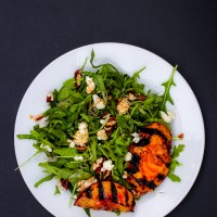 Arugula Salad with Grilled Nectarines, Blue Cheese and Toasted Pecans
