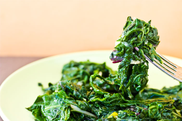 Swiss Chard with Grated Garlic