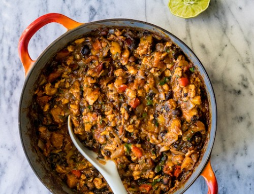 Vegan Tempeh-Black Bean Chili with Squash
