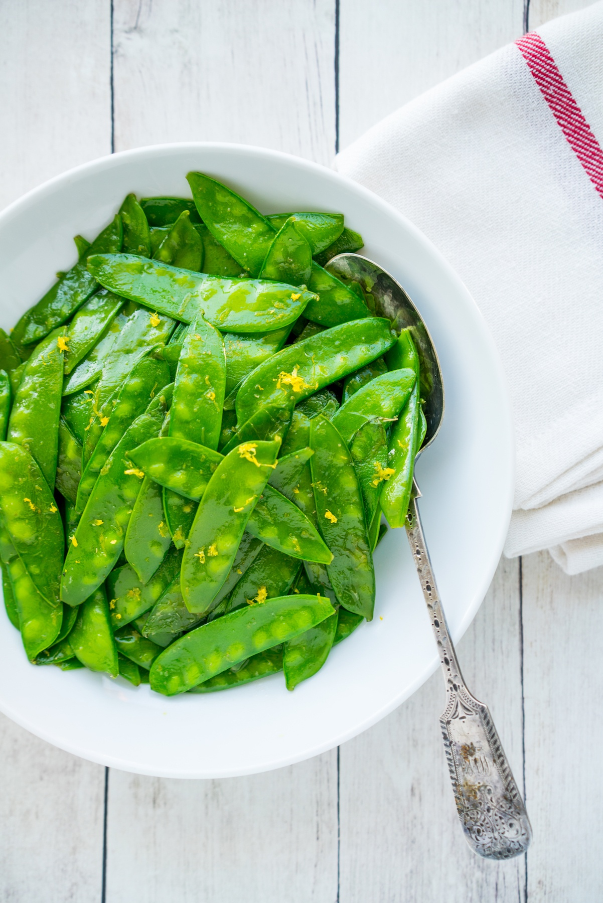 Snow Peas with Lemon Browned Butter